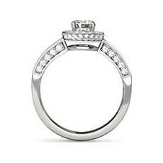 Serena platinum halo engagement ring