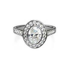 Viola flower engagement ring